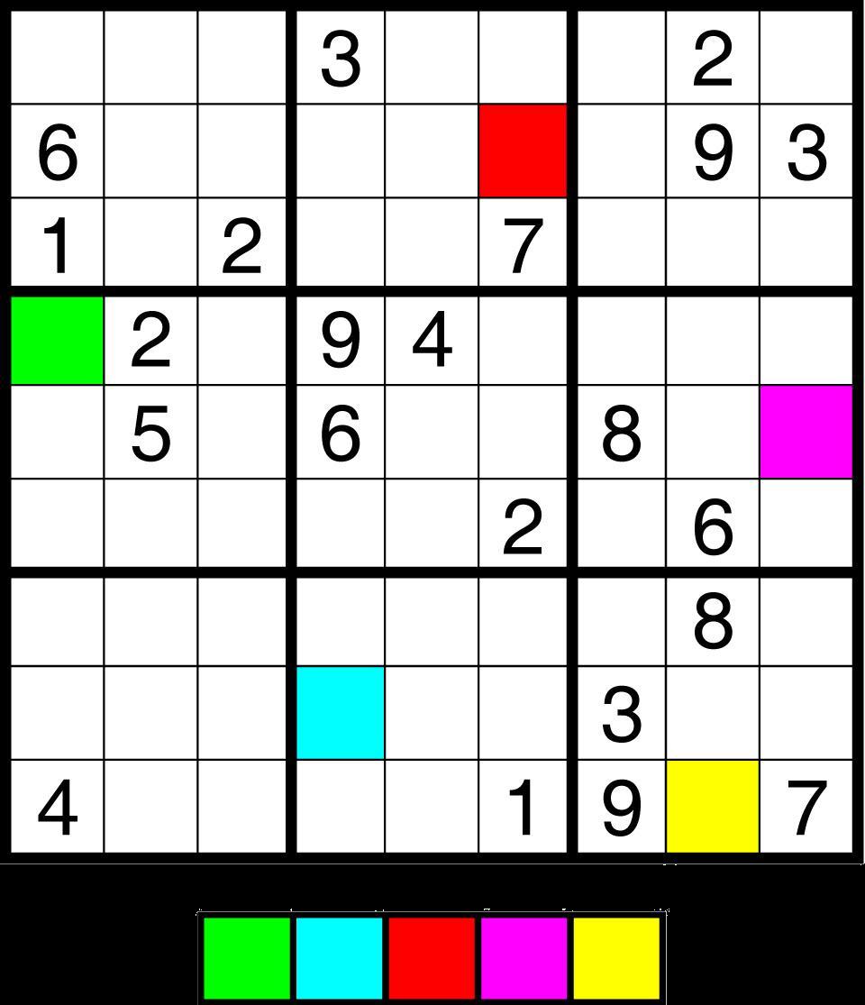 Sudoku 5 kleuren