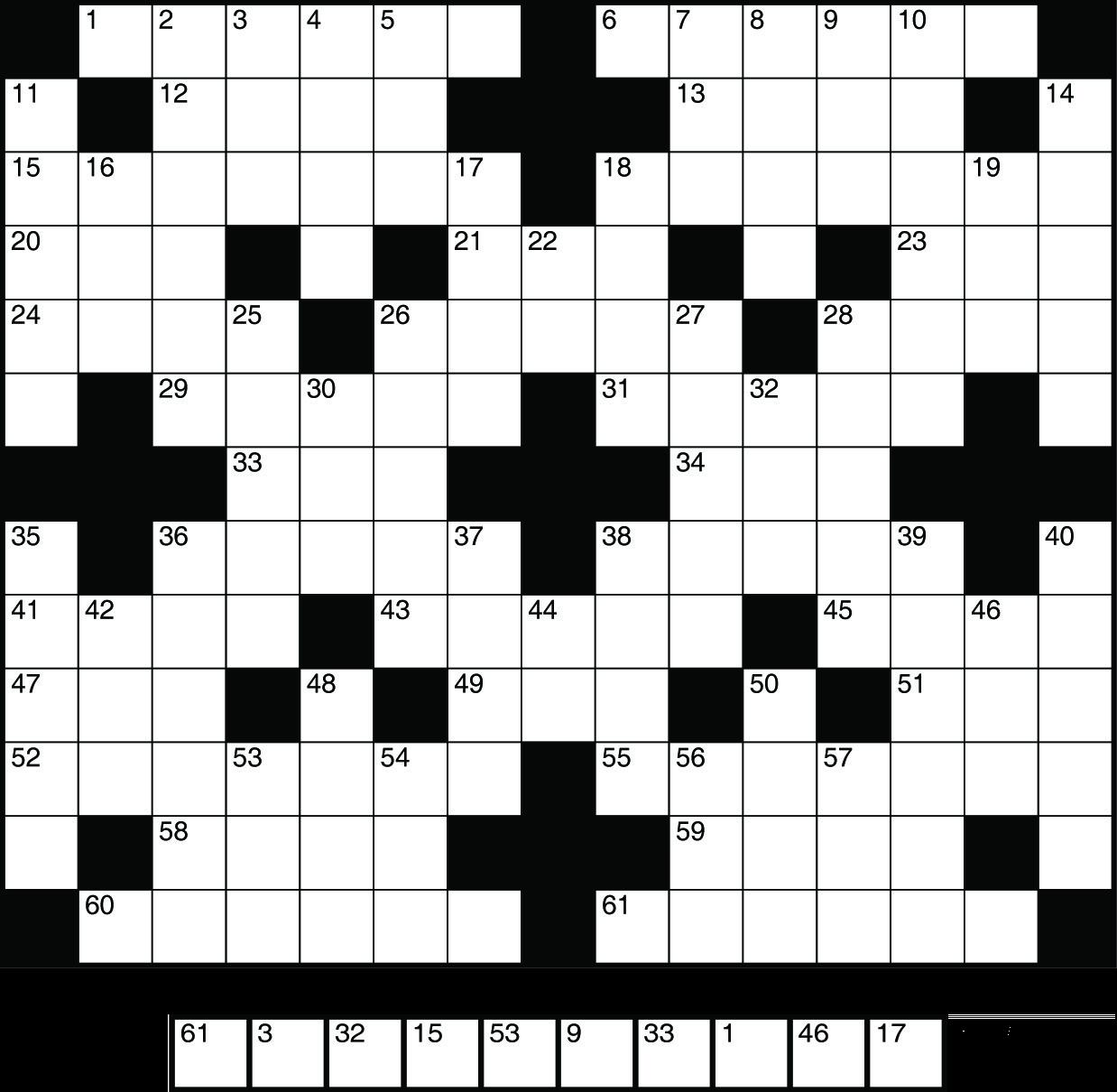 Kruiswoordpuzzel met oplossing